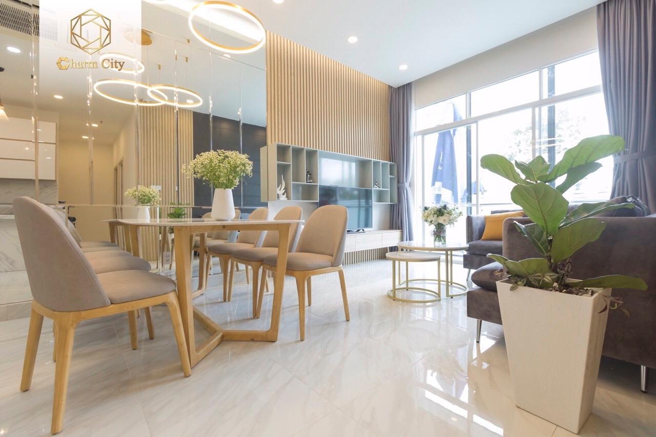 Phòng khách căn hộ 3 phòng ngủ Charm City Bình Dương